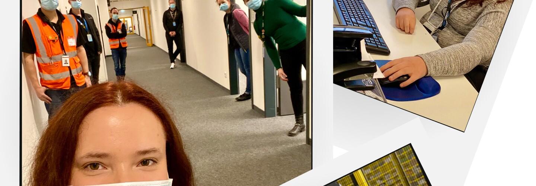 Collage mit § Bilder von Lea: im Logistikzentrum, am Bildschirmarbeitsplatz und auf dem Flur mit Kollegen