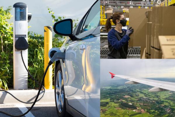 L'immagine mostra sulla destra un'auto che si ricarica, sulla sinistra una donna che sistema il packaging all'interno di un'azienda e sotto una terza immagine con un'ala di un aereo in volo sopra campi verdi.
