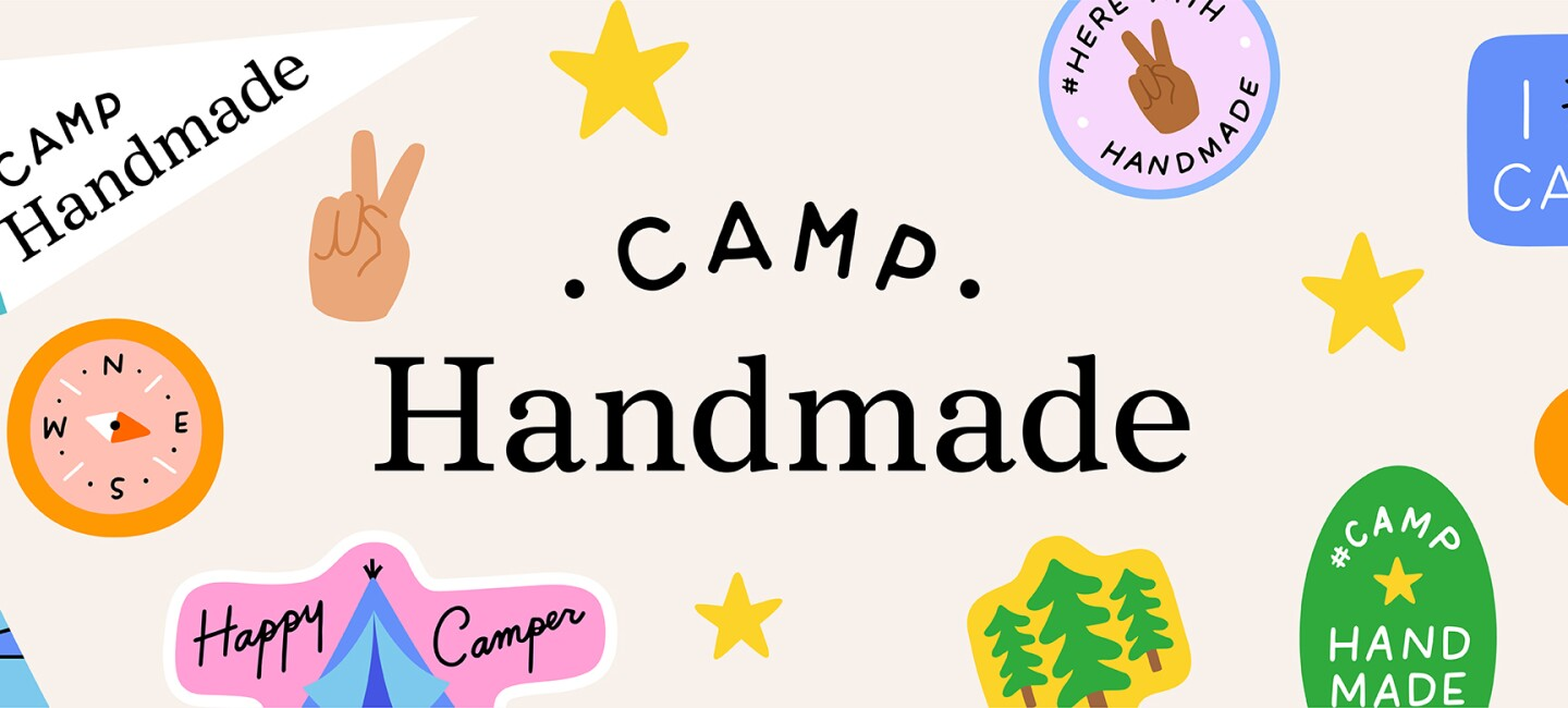 """A logo for """"Camp Handmade"""" which shows illustrations of camp badges featuring icons of trees, a tent, compass, etc."""