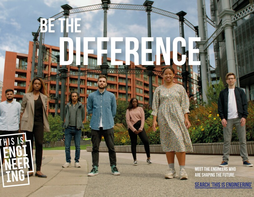 A group of engineering students with the text 'Be the difference'