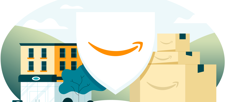 Illustrazione di uno scudo bianco con al centro lo smile arancione, logo di Amazon. Lo scudo ha sulla destra tre scatole di Amazon impilate una sull'altra, mentre alla sinistra vi è un edificio che sembra un negozio.