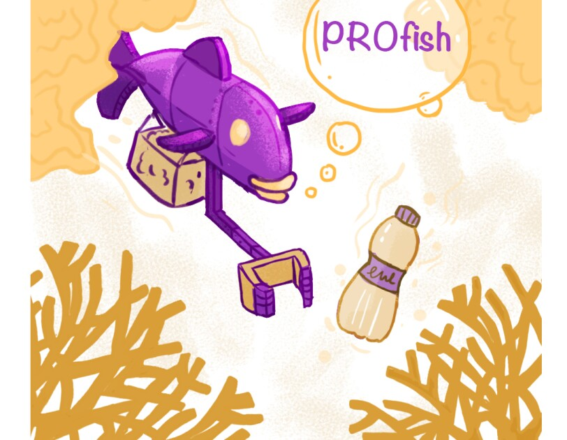 A sketch in purple and orange robotic fish for an Amazon competition entry