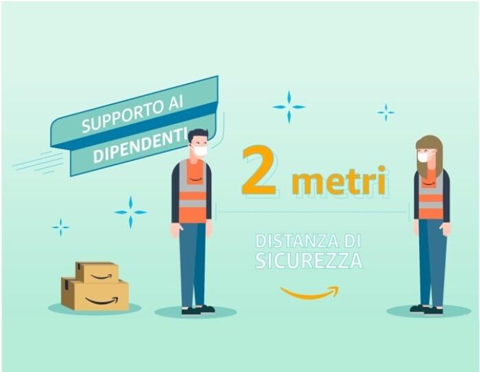 Illustrazione di un uomo e una donna che indossano un giubbino catarinfrangente con il logo Amazon e una mascherina sul volto. Sono separati da una scritta che recita '2 metri, distanza di sicurezza'. Sulla destra ci sono due scatole con il logo Amazon.