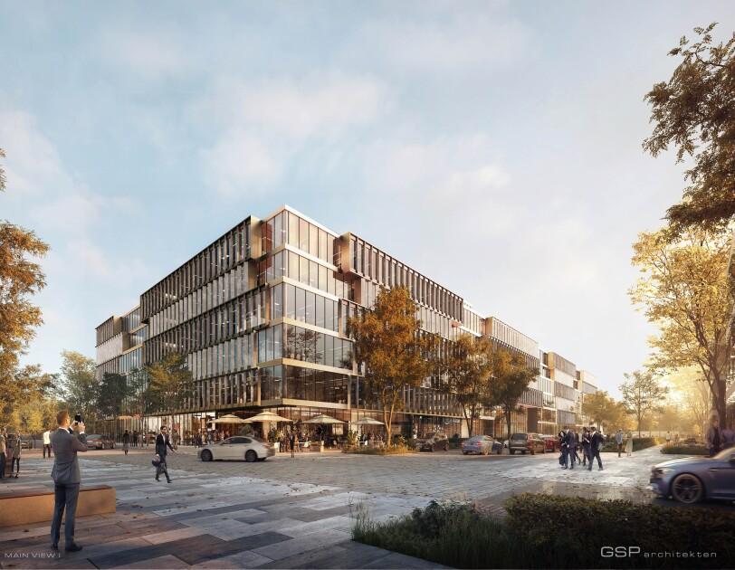 Das zukünftige Amazon Gebäude ist in Seitenansicht visualisiert.