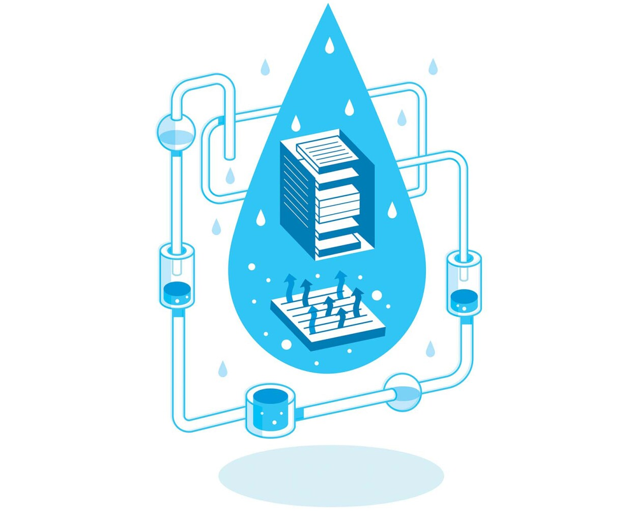 An illustration symbolizing AWS initiatives to improve water efficiency to reduce use of water for cooling data centers.