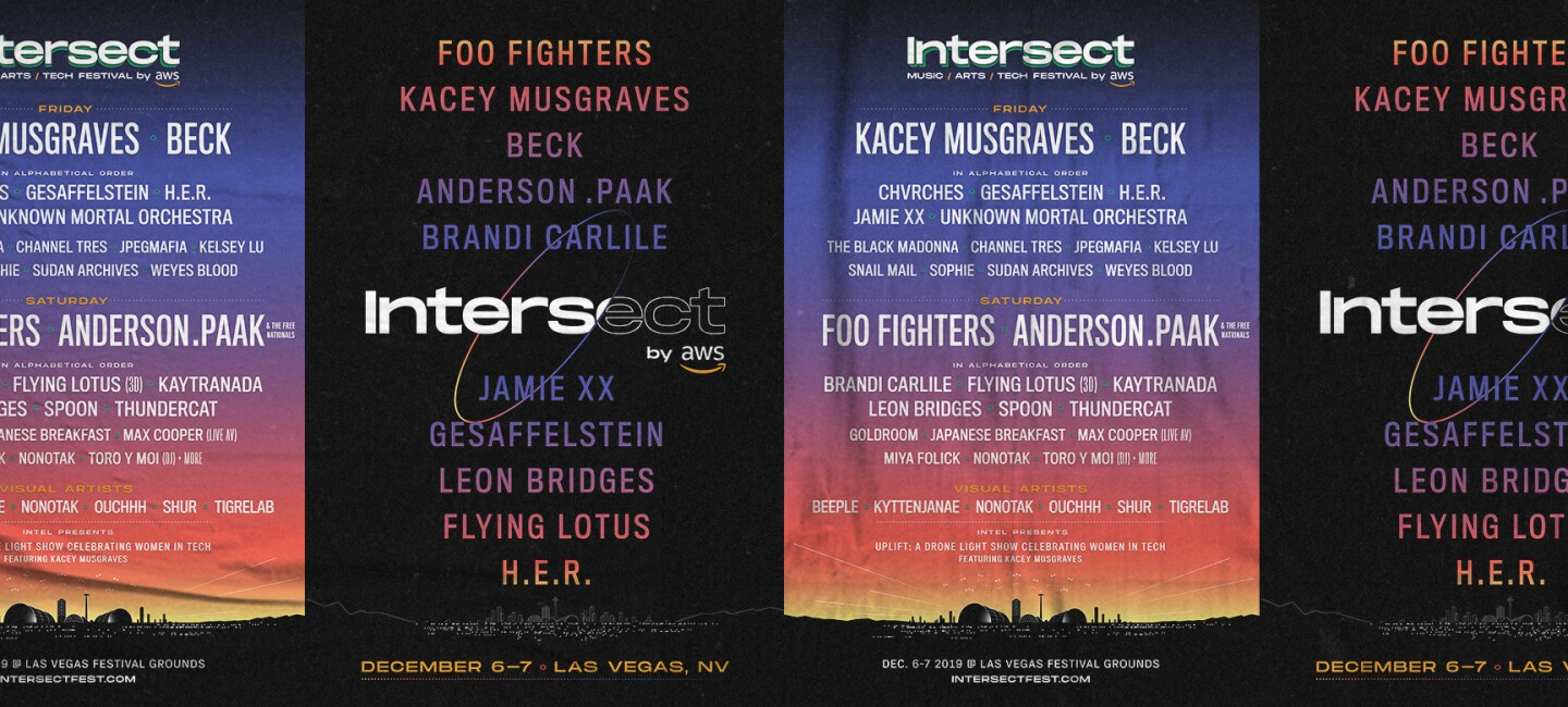 Banners from Intersect in green and blue, red and orange, pasted on a wall. Artists include Foo Fighters, Kacey Musgraves, Beck, Anderson . Paak & The Free Nationals, Brandi Carlile, Chvrches, Flying Lotus (3D), Gesaffelstein, H.E.R., Jamie XX, Kaytranada, Leon Bridges, Spoon, Thundercat, Unknown Mortal Orchestra, and many more to be announced