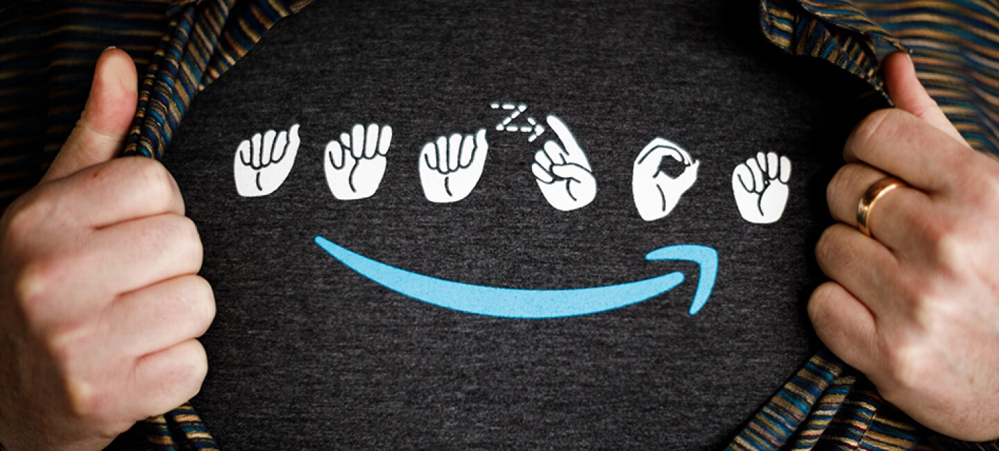 Grey t-shirt with Amazon logo in American Sign Language