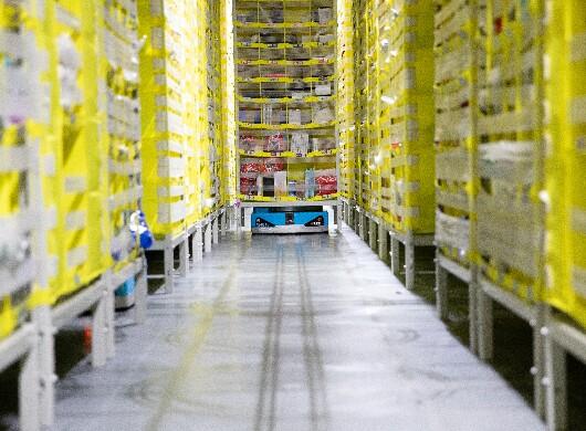 Robotics show in an Amazon FC
