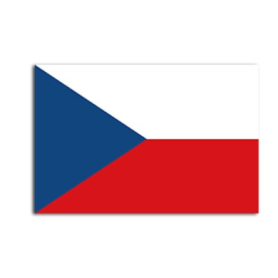 Flat flag of Czech Republic  on a white background