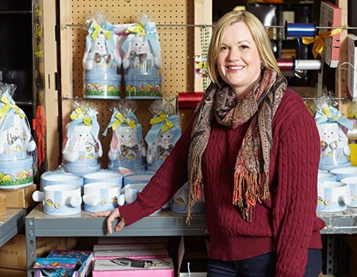 Anji Cozart in her basket-making shop