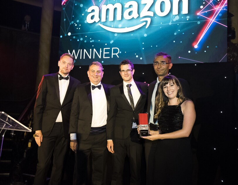 Amazon employees collecting Techradar Mobile Choice Award for best online retailer
