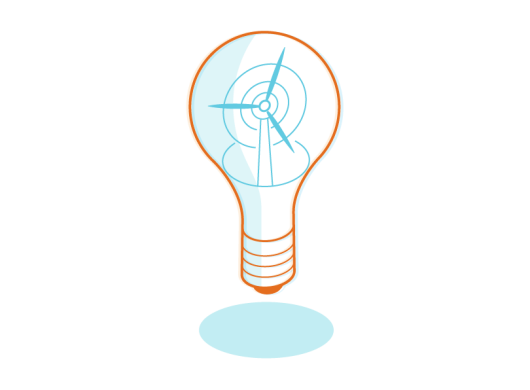 An illustration of an light bulb symbolizing the electricity model in Amazon's carbon footprint formula.