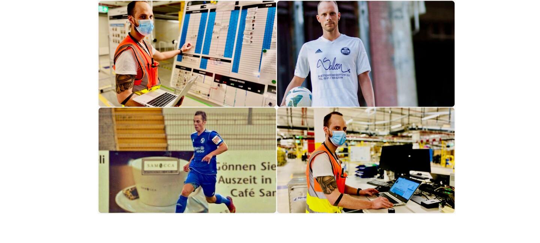 Collage von Kevin: als Fußballer und am Arbeitsplatz in Oelde