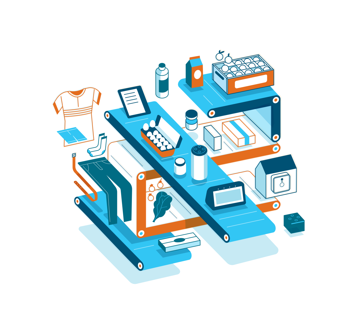 Illustration of various Amazon products, including clothing, devices, food, and house hold products.
