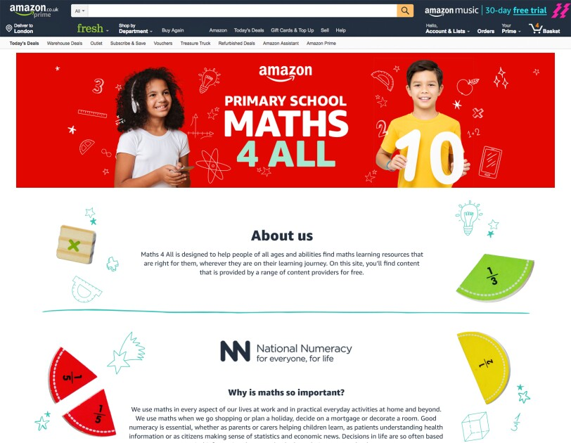 Image of the Maths4All website landing page