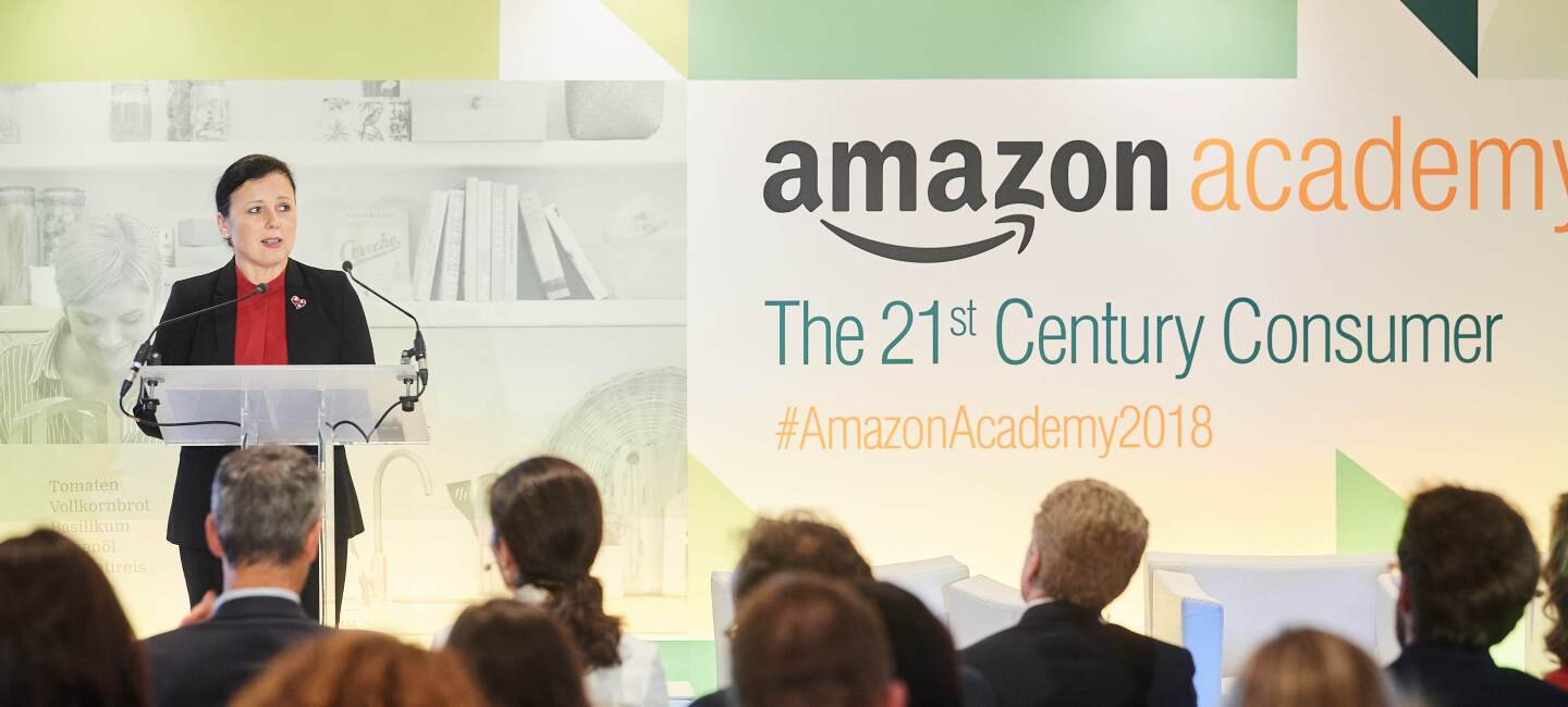 European Commissioner Věra Jourová gives a speech to Amazon Academy participants.