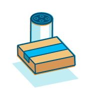 "An illustration of an Amazon box sitting in front of an Amazon Echo device representing Amazon's ""Products and packaging."""