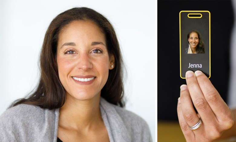 Photos of Jenna Powers and her Amazon ID badge