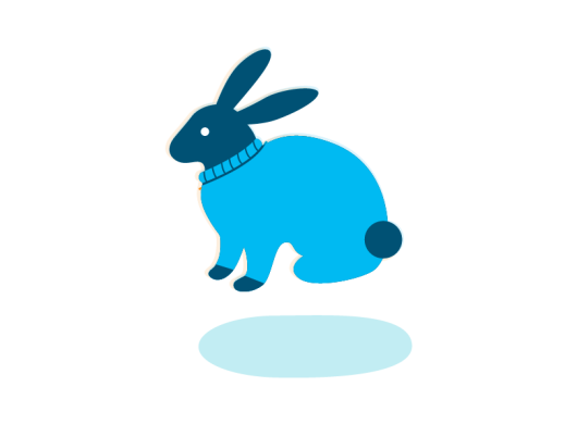 An illustration of a rabbit wearing a sweater in shades of blue