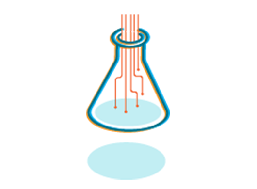 """An illustration of a lab flask with what looks like electrical circuits pouring into it. This represents """"Tech for good."""""""
