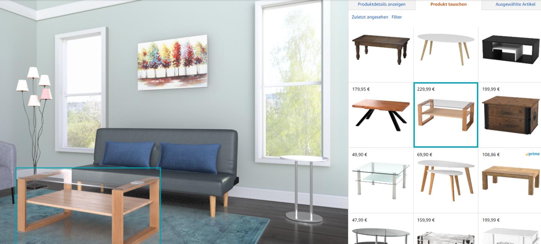 Screenshot der Website des Amazon Showrooms_Beispielhaft bei der Einrichtung eines Wohnzimmers