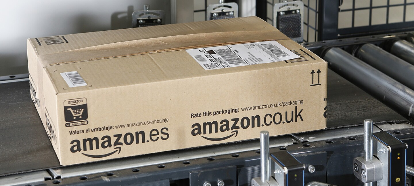 Amazon box on conveyor belt