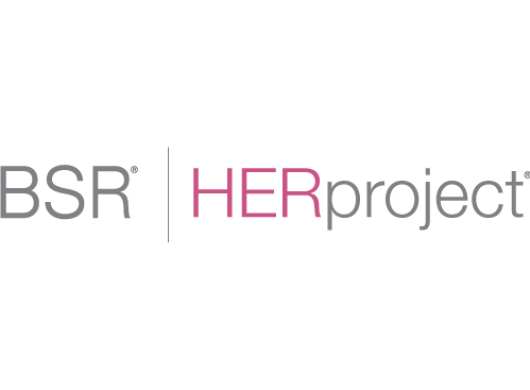 Logo of BSR|HERproject, an Amazon Sustainability partner