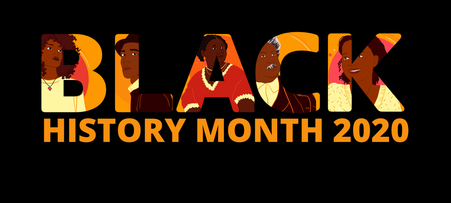 Banner with illustrated graphics and the text Black History Month 2020
