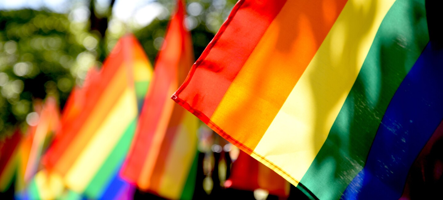 Pride flags in a light breeze