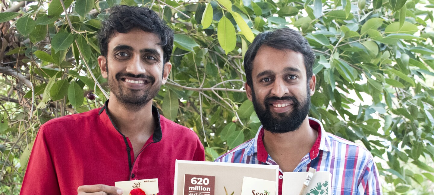 Seed Rakhi founders with their product