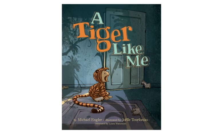 An illustrated children's book cover, with a child in a tiger costume, sitting on the floor in a shadowy home.