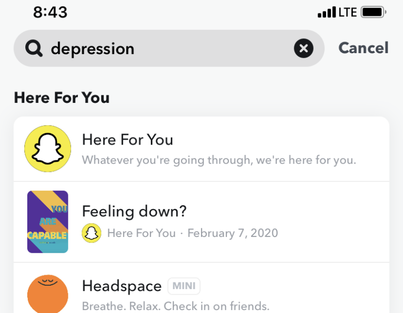 "A screenshot of a search for ""depression"" on Snapchat that provides results with coping resources from their new ""Here For You"" feature."