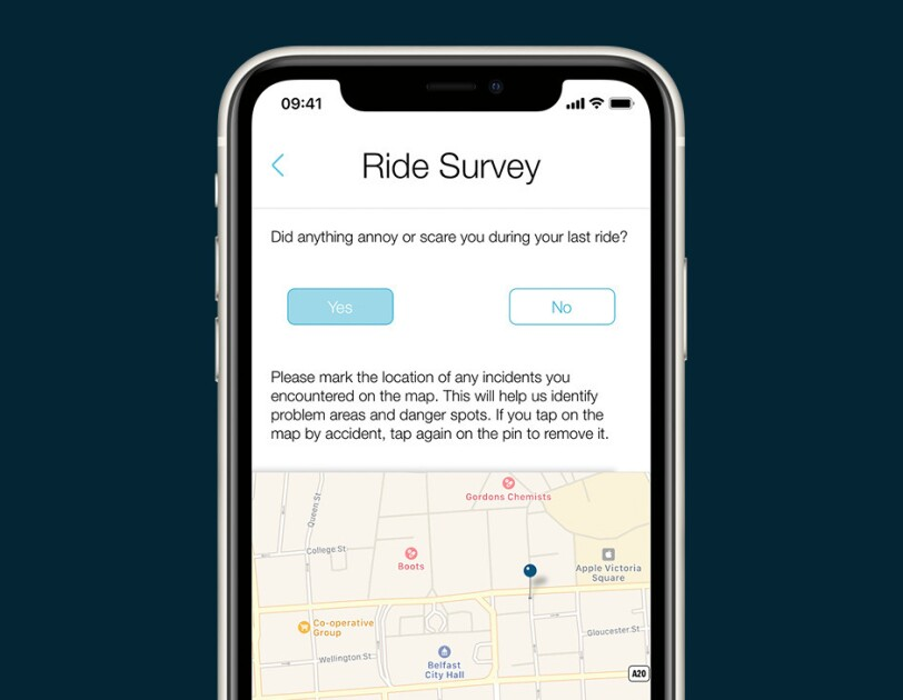 Ride survey within an app on a mobile phone
