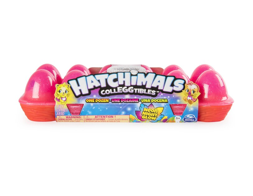 12-pack Hatchimal CollEGGtibles egg carton with a dozen season 4 Hatchimals in vibrant neon colors.