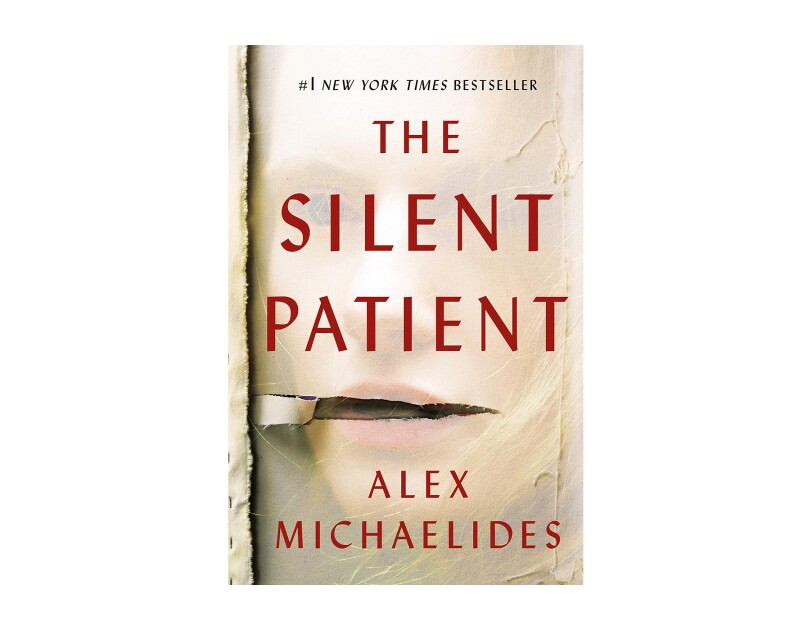 "Book cover for ""The Silent Patient"" by Alex Michaelides, a woman's face appears to show from under a gauzy material, with a tear near the mouth. The Title and authors' name are in sans-serif red font in all caps."