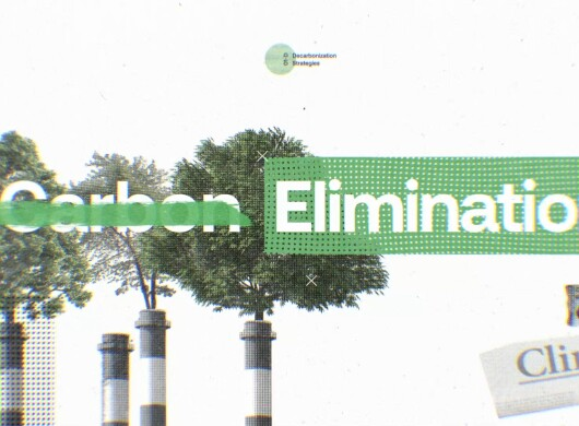 """Image with trees growing out of industrial structures and the words """"carbon elimination"""""""