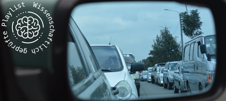 stau, autos, fenster, spiegel