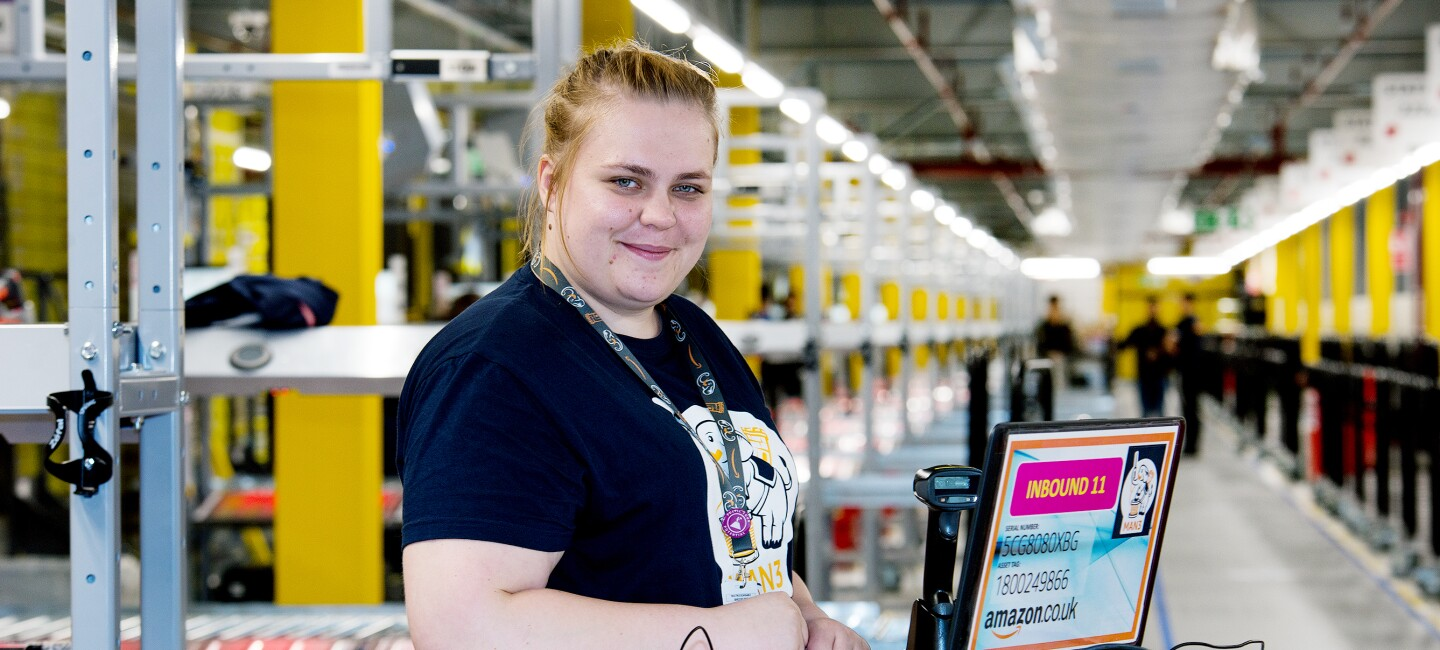 Dominika Wisniewska, health and safety coordinator at Amazon in Bolton, pictured at work