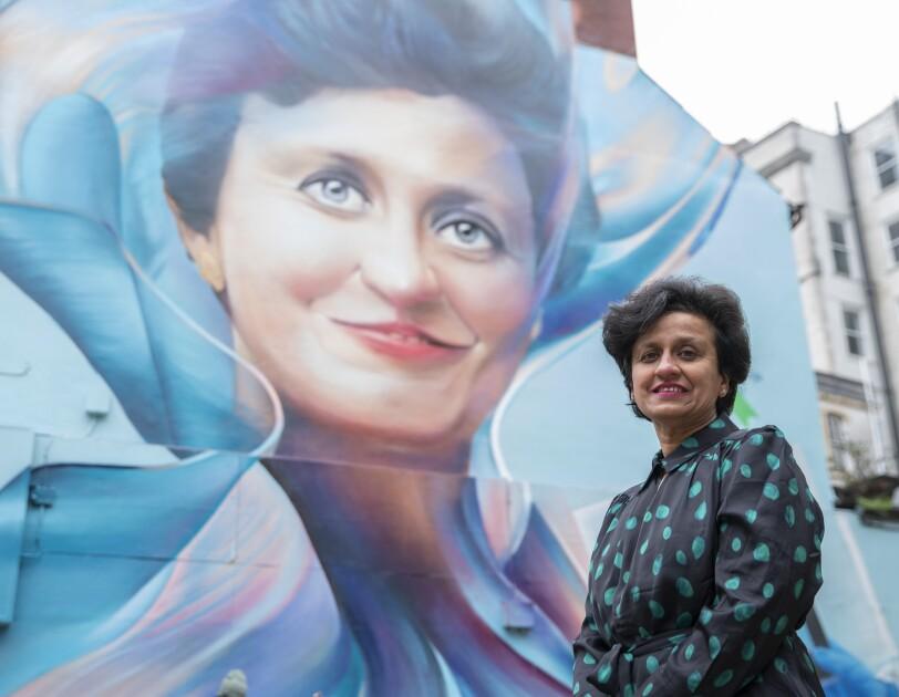 Professor Alka Surajprakash Ahuja MBE Cardiff mural