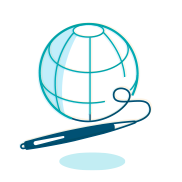 An illustration of a globe being drawn out with a pen.