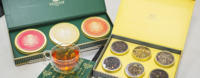 Vahdam tea flavours kept on a desk