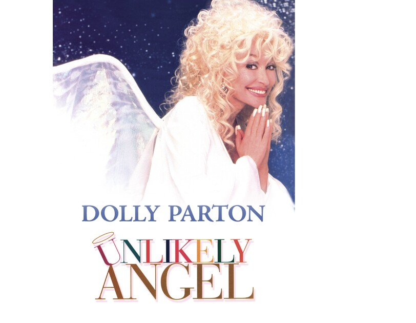 """Cover art for """"Unlikely Angel"""" features Dolly Parton, with her hands together as if to pray, while looking to the side and smiling at the camera. She wears her hair curly with bangs, a white robe and angel wings."""