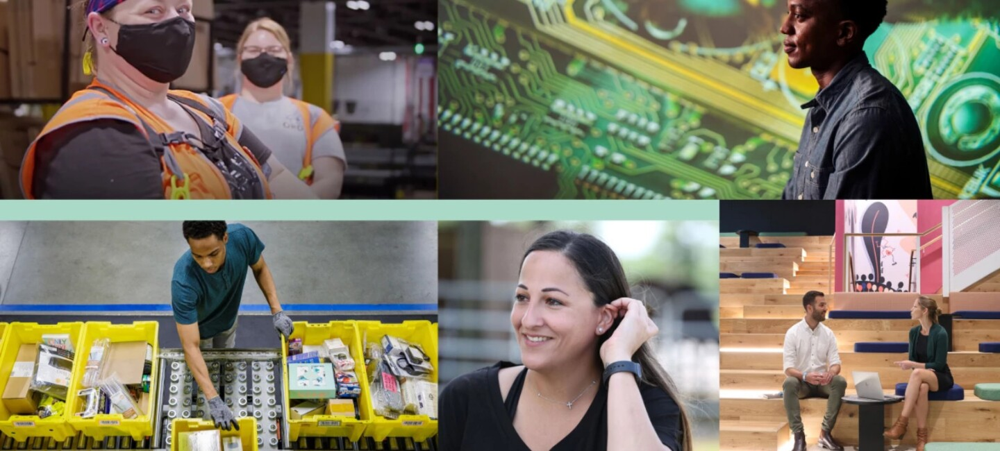 Career Day collage of various Amazon employees
