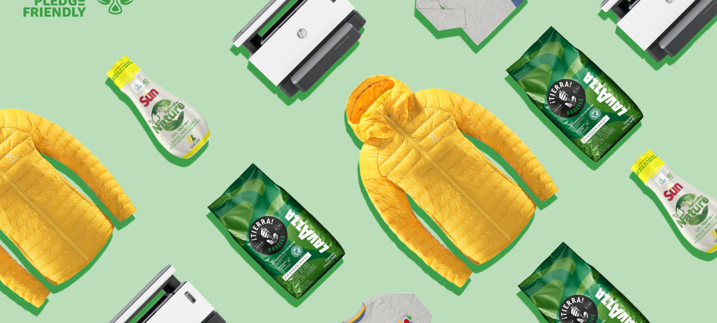 A number of products are shown on a green background. Products include clothing, coffee, a printer, and consumables, in a pattern.