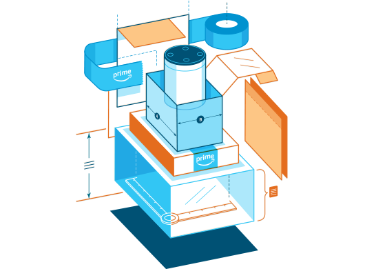 Graphic of the different elements of a package surrounding an Alexa device.
