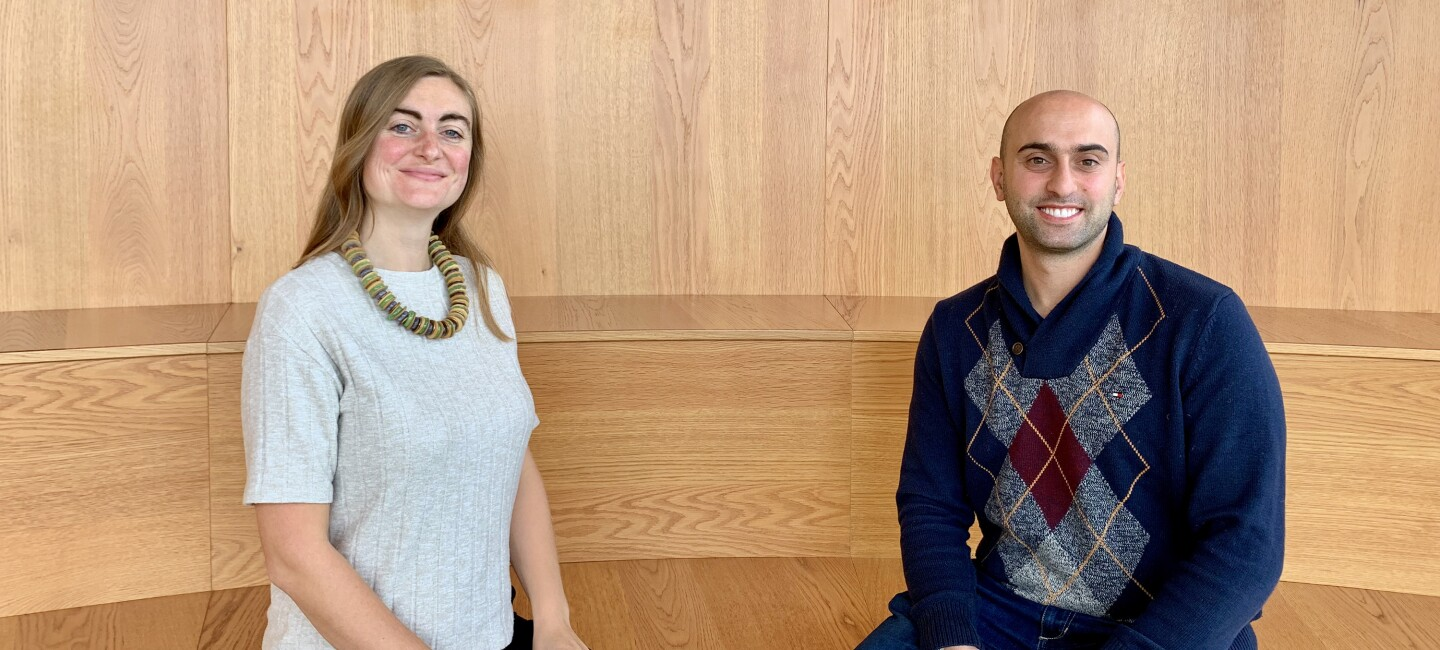 Picture of Madeleine Knowles (Senior Manager, Amazon in the Community) and Wissam Kazan (Chief Technology Officer, Book Depository) at Amazon