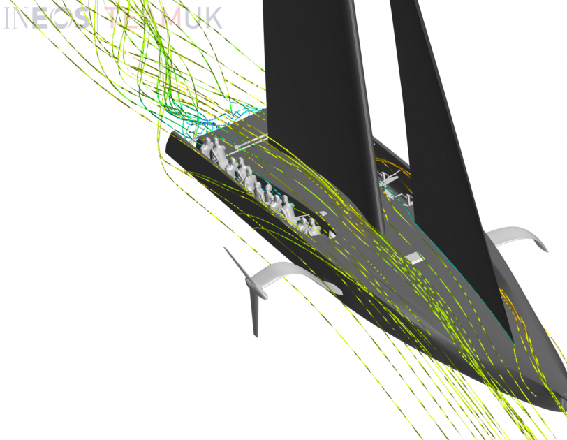 A virtual image of the AC75 challenger boat showing wind simulation ribbons which are being generated using AWS.
