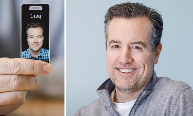 Photos of Greg Hart and his Amazon ID badge