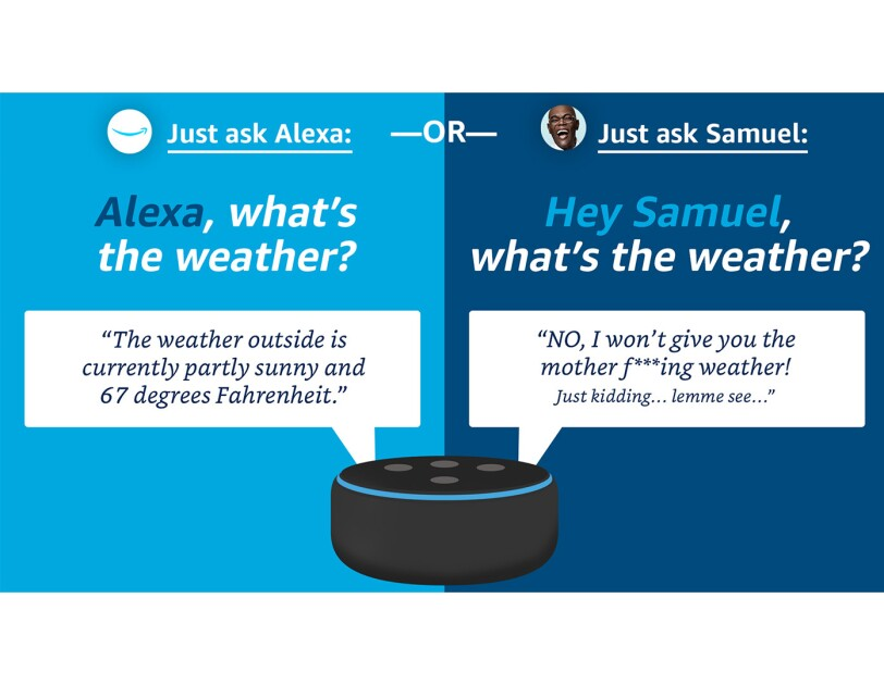 A graphic showing an Amazon Echo device responding to a question about the weather in both the Alexa and Samuel L. Jackson voices.