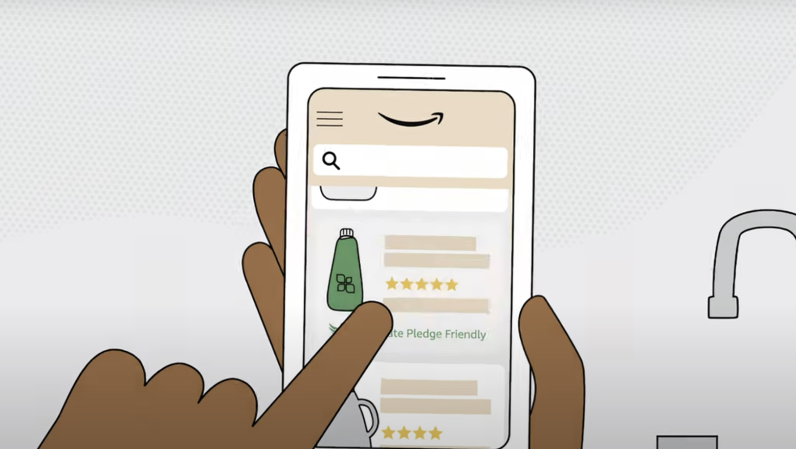 Sustainable Shopping, showing easy online shopping from phone